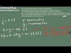 Aplicación ecuaciones lineales (puntuación de un examen)