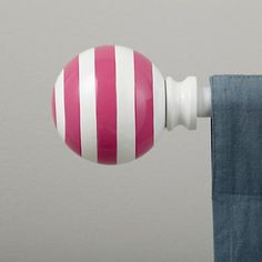 Curtain Accessories: Curtain Rod Striped Pink Ball Finials in Curtains