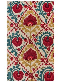 Seville Hand-Tufted Rug in mustard, turquoise and red. Some of my favorite colors...living room. Too bad it doesn't seem to be available anymore...