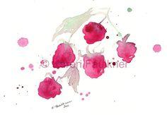 Art, Print, Giclee Print of Watercolor Painting: A Splash of Raspberry via Etsy