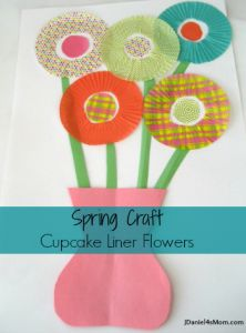 spring craft for kids made of cupcake liners