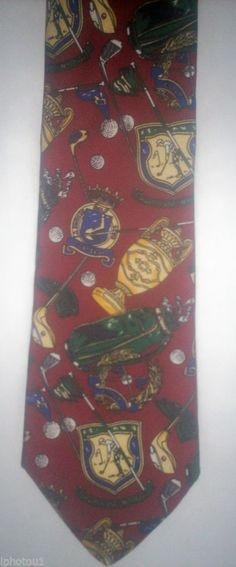 Championship golf themed necktie, all silk, made in the U.S.A. FREE SHIPPING #NeckTie