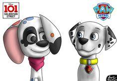 Da Vinci Y Marshall by JocelynMinions on DeviantArt Paw Patrol Characters, Alvin And The Chipmunks, Disney Dogs, Cartoon Crossovers, 101 Dalmatians, Deviantart, Comics, Street, Drawings
