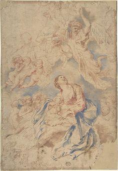 Nativity with Angels  Circle of Giovanni Benedetto Castiglione (Il Grechetto) (Italian, Genoa 1609–1664 Mantua)