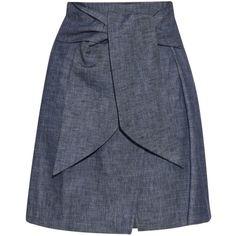 MSGM Self-tie waist denim skirt (240 CAD) ❤ liked on Polyvore featuring skirts, indigo, msgm, high waisted denim skirt, tie waist skirt, high waisted skirts and high waisted knee length skirt