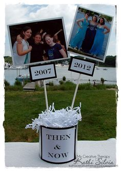 """Fill a vase with paper shreds in the schools colors, then add photos of your grad """"then"""" and """"now"""" to skewers that stick out from the base. Cute way to show how your grad (and his/her friends) grew over the years!"""