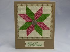 Stampin' Up! ... handmade Greeting Card: Quilted Star .... red and green print papers with vanilla for the quilt block ... kraft base ... wide print mat in patterned kraft ... like this version of the star patch ...