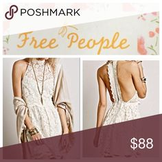 Free People lace dress Free People lace dress, size 6.  Beautiful cream, halter style with high neck, double split low back, scalloped hem.  Lined front and skirt.   65% cotton, 35% nylon with 100% rayon lining.  NWOT Free People Dresses