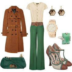 "Not a fan of the jacket or the shoes, but I just love the pants/shirt combo! ""Autumn Jade"" by kateanfinson on Polyvore"