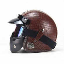 US $100.00 Free shipping PU Leather Harley Helmets 3/4 Motorcycle Chopper Bike helmet open face vintage motorcycle helmet with goggle mask. Aliexpress product