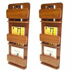 Pair of Peter Pepper Danish Modern Style Wall Mount Book Magazine Holders