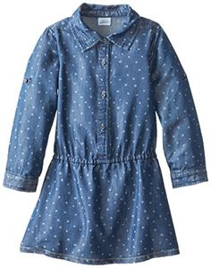 Egg by Susan Lazar Girl's 2-6X Dotted Chambray Dress, Blue, 7- Click image twice for more info - See a larger selection of play wear dresses at http://girlsdressgallery.com/product-category/play-wear-dresses/- kids, toddler, kids dresses, little girls, dress, casual dress, little girls fashion, gift ideas
