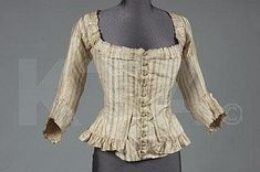 A lady's striped silk caraco bodice, 1770s, of ivory silk striped in gold and copper tones with fine red and lime lines, lined in apricot and green stripes silk with embroidered buttons