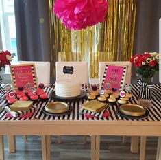 Pink and black brida Pink and black bridal shower theme- bridal shower printables perfect for a Kate spade inspired bridal shower engagement party or baby shower. It features black and white stripes with pink and gold accents. Bridal Shower Cupcakes, Bridal Shower Tables, Bridal Shower Centerpieces, Bridal Shower Rustic, Shower Cakes, Sweet 16 Party Themes, Sweet 16 Parties, Pink Parties, Kate Spade Party