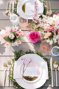 Greenery and flower place setting from a Floral Easter Brunch on Kara's Party Ideas | KarasPartyIdeas.com (25)