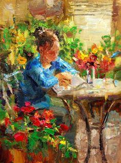"""Daily Paintworks - """"Engrossed"""" - Original Fine Art for Sale - © Julie Ford Oliver Artist Gallery, Love Art, Art For Sale, Female Art, Illustration Art, Artsy, Drawings, Artwork, Bistros"""