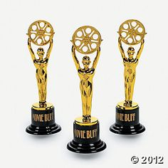 Movie Buff Gold Trophies from Oriental Trading ($11 per dozen)
