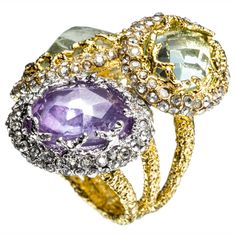 Mauritius Gold & Rhodium Imi Aqua Stacked Ring::Rings::Elements::Collections::Alexis Bittar