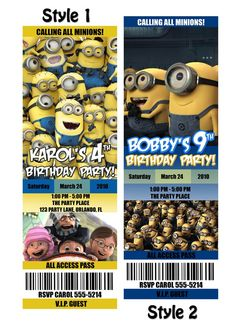 Despicable Me invitations. So Cool!!!