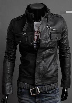 Men Stand Collar Leather Jacket, Black Jacket, 's Biker Leather Jackets Biker Leather, Leather Shorts, Leather Men, Leather Jackets, Real Leather, Black Leather, Leather Collar, Cowhide Leather, Sharp Dressed Man