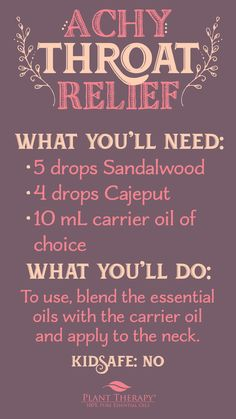 Many essential oils, with their ability to boost our immune system, calm inflammation, and soothe discomfort, can provide relief when a sore throat has you feeling down. Check out some of our recommendations if you are experiencing a sore throat. Plant Therapy Essential Oils, Essential Oils For Headaches, 100 Pure Essential Oils, Young Living Essential Oils, Essential Oil Blends, Essential Oil Aphrodisiac, Oils For Sore Throat, Healing Oils, Diffuser Blends