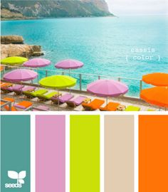 never thought to add pink to this combo -- but i love it! // aqua + pink + lime + sand + tangerine