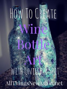 How to Create Wine Bottle Art with Unicorn Spit. Turn an ordinary wine bottle into a one-of-a-kind work of art with Unicorn Spit non-toxic rainbow gel stain. In this video, I demonstrate three techniques to get you started using this amazing new product. Wine Bottle Art, Painted Wine Bottles, Diy Bottle, Wine Bottle Crafts, Bottles And Jars, Glass Bottles, Decorated Bottles, Mason Jars, Beer Bottles