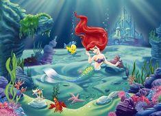 Ariel The Little Mermaid Disney wall mural Little Mermaid Bathroom, Little Mermaid Shirt, Mermaid Kids, Mermaid Room, Mermaid Disney, Disney Little Mermaids, Ariel The Little Mermaid, Ariel Wallpaper, Photo Wallpaper