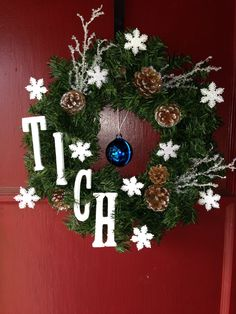 Winter or Christmas wreath! DIY everything was purchased from Michael's! :)