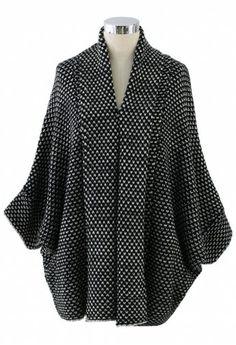 Oversize Textured Waffle-Knit Drape Cardigan