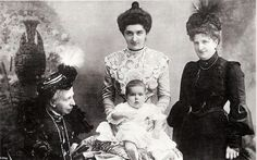 Four Generations. The Dowager Marchioness of Rapallo (nee Princess Elizabeth of Saxony, previously Duchess of Genoa) with her great grandson, Prince Umberto; her granddaughter-in-law, Queen Elena of Italy, and her daughter, the Queen Mother, Margherita. Circa 1904-1905.