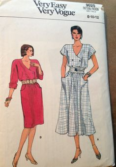 Items similar to vintage sewing pattern, Very Easy Very Vogue Flared skirt dress, Misses size uncut pattern on Etsy Vintage Gowns, Vintage Outfits, Vintage Clothing, Retro Pattern, Vintage Sewing Patterns, Vogue Patterns, Dress Patterns, Button Front Dress, Couture