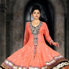 Peach Chantelle Net Readymade #Anarkali #Churidar Kameez