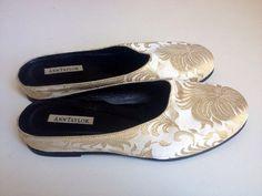 Vintage 90's /// Asian Brocade Satin Mule Flats