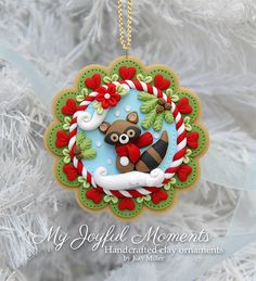 Handcrafted Polymer Clay Winter Racoon Scene Ornament