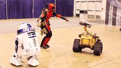 Deadpool VS R2-D2 and Wall-E