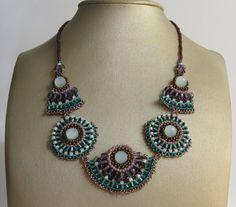 New style big Purple emerald & turqouise Beaded by TamarKeny