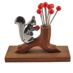 Squirrel Cocktail Picks & Holder