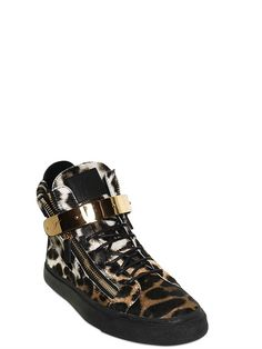 GIUSEPPE ZANOTTI HOMME - LEOPARD PRINTED PONYSKIN SNEAKERS - LUISAVIAROMA - LUXURY SHOPPING WORLDWIDE SHIPPING - FLORENCE Mens Fashion Shoes, Fashion Boots, Fashion Menswear, Giuseppe Zanotti Shoes, Zanotti Heels, Lunch Boxe, Shoes With Jeans, Sneakers, Printed