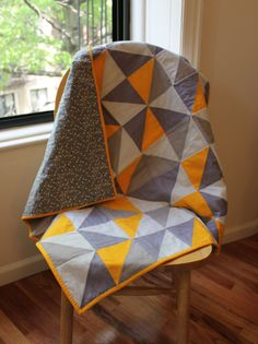 Gray and yellow baby quilt by Brooklyn Quilting Co.