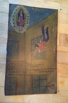 Mexican Religious Ex Voto, Folk Art, Retablo, Narrative Painting, Votive Painting