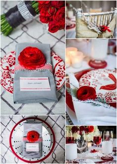 The bright reds would be perfect for a modern winter wedding without feeling overdone. Red Grey Wedding, Gray Wedding Colors, Wedding Color Schemes, Charcoal Wedding, Wedding Themes, Wedding Decorations, Wedding Ideas, Wedding Stuff, Wedding Fun