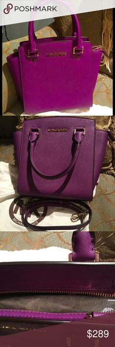 Simply gorgeous Michael Kors purple bag Michael Kors purple bag, still has original paper inside and has a strap,that can be attached to turn it into a shoulder bag.  This bag is in perfect like new condition. Michael Kors Bags Shoulder Bags
