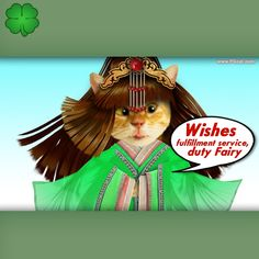 Wishes fulfillment service, fairy, greeting card template, cute, nice, cat, cats