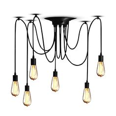 Lights & Lighting American Retro Pendant Lamp Simple Nordic Alien Bent Pipe Pendant Light Spider Droplight Iron Products Are Sold Without Limitations Pendant Lights