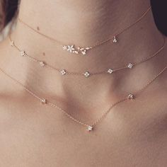 delicate star layered necklaces - style | jewelry - beautiful - inspiration - idea - ideas - cute - trendy - necklace - celestial - stars - chocker