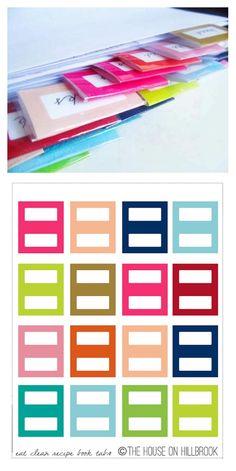 ces onglets, destinés au départ à séparer des fiches recette, seront aussi parfaits pour nos pages, cartes et albums... Planner Dividers, Planner Organization, Make Your Own Labels, Diy And Crafts, Paper Crafts, Organizing Labels, Planner Pages, Filofax, Happy Planner