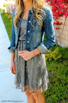 Daytime Sequins. Sequin dress with jean jacket. Gives it a casual daytime look.  @aglitteraffair.blogspot.com