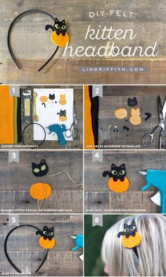 Make your own felt kitten DIY headband for Halloween. It might just be the cutest Halloween craft we ever did see! By handcrafted lifestyle expert Lia Griffith. Diy Halloween Headbands, Halloween Hair Bows, Diy Baby Headbands, Felt Headband, Diy Hair Bows, Diy Bow, Holidays Halloween, Halloween Crafts, Holiday Crafts
