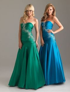 Satin Sweetheart Strapless Neckline A-Line Prom Dress with Beading Accents Rouched Bodice